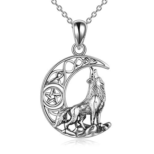 POPLYKE Wolf Necklace Jewelry for Women Sterling Silver Celtic Knot Wolf Moon Pendant Necklace Gifts for Men Girls (Style 2-Wolf Necklace)