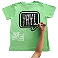 Chalk of the Town Green Speech Bubble Chalkboard Short Sleeve T-Shirt Kit for Kids with 1 Marker and 1 Stencil
