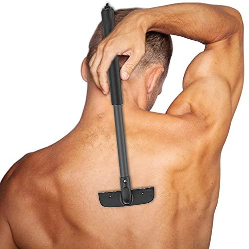 YOMERA Afeitadora Corporal Masculina, Depiladora Corporal Hombre Con Hoja Extra Ancha/Asa Retráctil, Maquina Depilar Hombre Para Barba/Cabello/Cuerpo Para Hombres