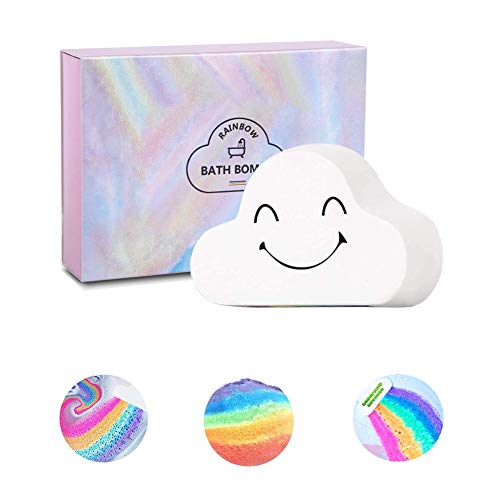 Sagekia Rainbow Bath Bombs (1 Pack), Large Size 6.35oz Organic Bath Bomb Gift Set, Gentle and Kid Safe Bubble Spa to Moisturize Skin, Idea for Her, Girls, Women and Kids