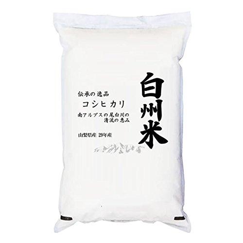 【玄米】山梨県産 日本名水100選 玄米 白州米 こしひかり 5kg(長期保存包装)x1袋 令和2年産 新米