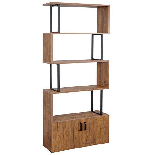 Mendler Bücherregal HWC-A27, Regal Standregal Raumteiler Wohnregal, Staufach mit Tür 183x80cm 3D-Struktur Wildeiche-Optik