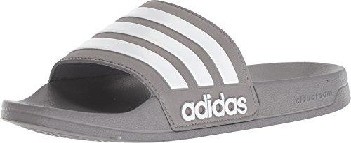 adidas Men's Adilette Shower Slide Sandal, Grey/White/Grey, 9