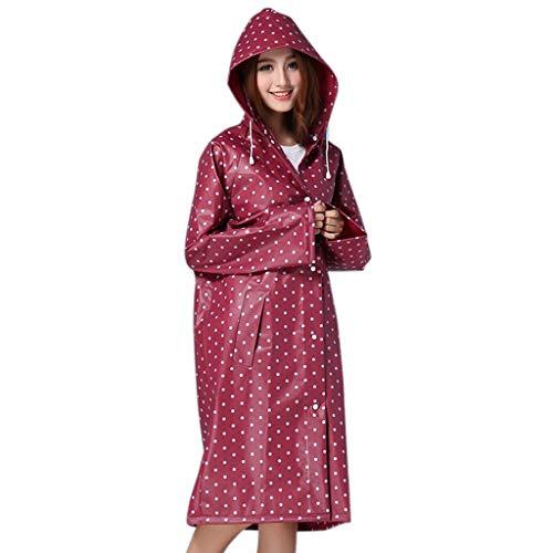 GERUAFU regenjas milieuvriendelijk Eva draagbaar mode dot lange hak herbruikbaar voor vrouwen outdoor bergbeklimmen reizen, etc. (rode witte punt)