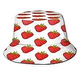 Sombrero de pescador de fresa de fruta de dibujos animados Sombrero de boonie reversible impreso en 3D Gorra de sol con solapa duradera Sombrero de cubo portátil ligero Sombrero de viaje con