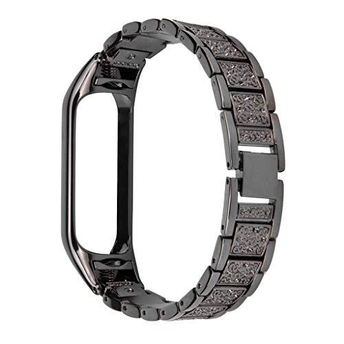 Eariy Repuesto de correa de malla de acero inoxidable compatible con Xiaomi Mi Band 4, materiales respetuosos con la piel, la elección perfecta para hombres y mujeres