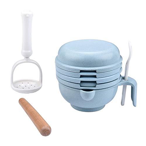 CXWK Babynahrung Masher Schüssel Löffel Food Feeder Prozessor Smasher Ideal für Reisegemüse Obst Ricer, blau