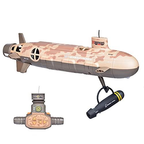 WZRYBHSD Barco De Control Remoto Inalámbrico De 6 Canales RC Submarino Juguete Infantil Eléctrico RC Barco De Carreras Barco Impermeable Juguete De Buceo Modelo Militar Regalo para Niño Niños Adultos