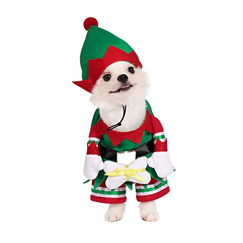 Mogoko Dog Cat Christmas Elf Costume, Funny Pet Cosplay Dress with Cap, Puppy Fleece Warm Outfits Animal Festival Apparel Clothes(L Size)