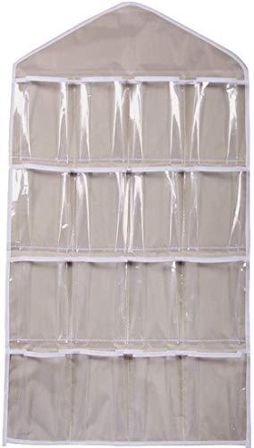L-entcy Bolsas, zapatero bolsa de almacenamiento para colgar, puerta transparente, armario, sujetador, calcetines, armario, organizador de almacenamiento 16 ranuras (azul, beige (color: beige)