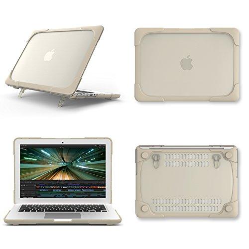 AUSMIX Macbook Pro Retina 13 inch Case (A1502/A1425), Hard Plastic & TPU Protective Case Kickstand Shockproof Matte Case Cover for Mac Pro 13.3 inch Retina Display, NO CD-ROM - Khaki