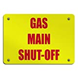 Aluminum Weatherproof Metal Sign Multiple Sizes Gas Main Shut Off Style 1 Hazard Emergency 10INx7IN Horizontal Street Signs One Sign