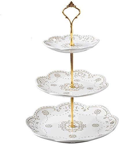 CESULIS Plato de fruta de cerámica europea plato de fruta Dim Sum moderno bandeja de pastel sala de estar plato de fruta simple y creativo (color: blanco) exhibición de frutas