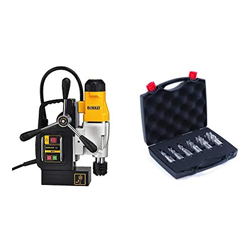 DEWALT Drill Press, 2-Speed, Magnetic, 2-Inch (DWE1622K) & Evolution Power Tools A-CC6SET-1 CYCLONE Premium 1-Inch Annular Cutter Set with Pilot Pins-For Use With Magnetic Drills, 6-Piece