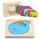 Junyobee Holzpuzzle - Holzspielzeug Puzzle - Holz Steckpuzzle - Montessori Motorik Spielzeug - Babyspielzeug Kinderspielzeug Lernspielzeug für Baby Kinder ab 1 2 3 Jahre - Motorikspielzeug Puzzel
