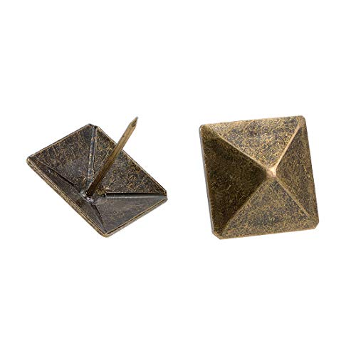 uxcell Upholstery Nails Tacks 30mm Square Head Antique Furniture Nails Pins Bronze Tone 10 Pcs