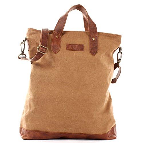 LECONI Shopper Leder + Canvas Vintage-Look Umhängetasche für Damen Henkeltasche große Beuteltasche DIN A4 Damentasche Handtasche 39x45x10cm LE0037-C, Cognac / Braun,