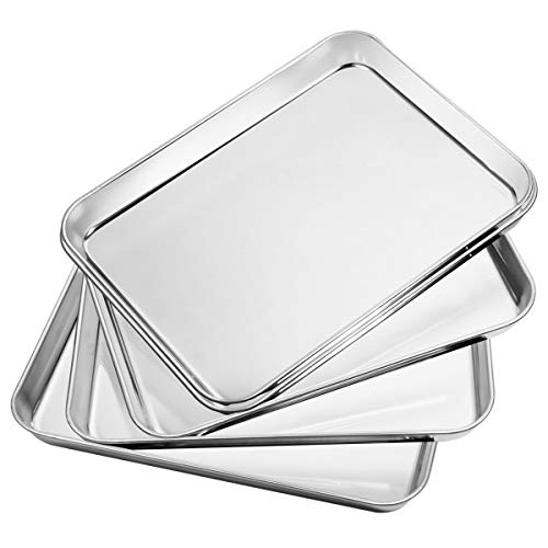 Baking Sheets Set of 5, Bastwe Stainless Steel Baking Pan Tray Cookie Sheet, Size 10 x 8 x 1 inch, Non Toxic & Healthy, Rust Free & Easy Clean