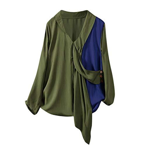 Xmiral Bluse Damen Langarm Button Patchwork Schnürung Knopfoberseiten Hülsen V-Ausschnitt Hemd Chiffon Lange Ärmel T-Shirt(Grün,S)