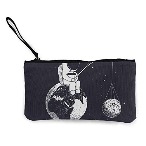 XCNGG Geldbörsen Shell Aufbewahrungstasche Unisex Canvas Wristlet Wallet Clutch Purse Coin Pouch Pencil Bag Cosmetic Bag Space Astronaut Fishing Planet