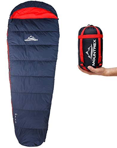 MOUNTREX® Schlafsack - Kleines Packmaß & Ultraleicht (720g) - Outdoor Sommer Schlafsack, Mumienschlafsack (205x75cm) - Kompakt, Warm und Leicht für Camping, Reise oder Festival - Koppelbar (Rechts)