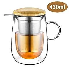glastal 430ml Doppelwandige Glas Teetasse