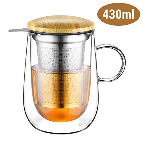 Glastal 430ml Doppelwandige Glas Teetasse mit Metallsieb Teeglas Teebecher aus Borosilikat Glas Tasse