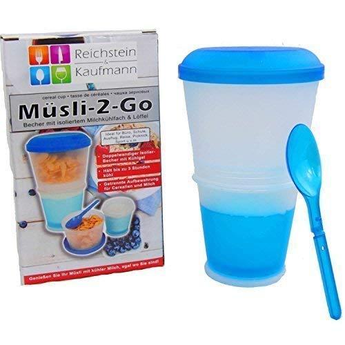 Muesli to go, beker met geïsoleerd koelvak & lepel, transparant met blauw deksel, koelbeker 100 ml, kom 260 ml