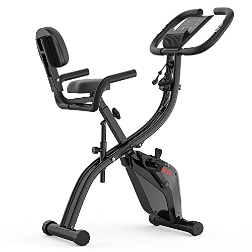 Folding Exercise Bike with Arm Resistance Bands, Magnetic...