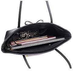 Wedmay Womens Designer Black Large Tote Bag for Laptop Travel Shoulder School Handbag (Black) #4