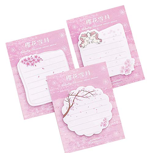 SOKOYO Cute Cherry Blossoms Memo Pad School Kawaii Sticky Notes Planner Bookmark Stationery Escolar Office Supplies