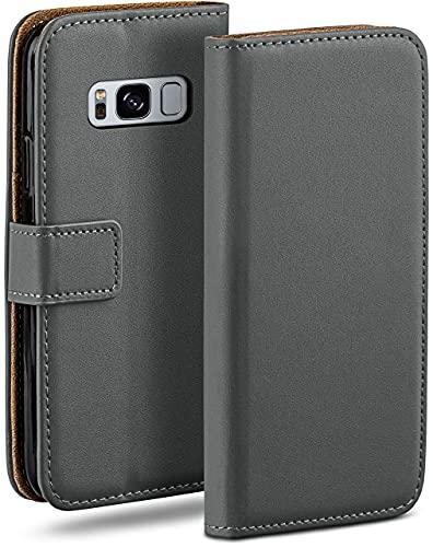 moex Klapphülle kompatibel mit Samsung Galaxy S8 Hülle klappbar, Handyhülle mit Kartenfach, 360 Grad Flip Hülle, Vegan Leder Handytasche, Dunkelgrau