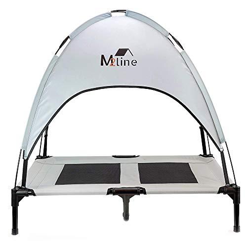 M2line Cama para perro grande para exterior Funda de cama Chaise Longue Colchón portátil pequeño Accesorios para perros Cojín de tela lavable resistente Dosel (L-92x76x18cm Gris)