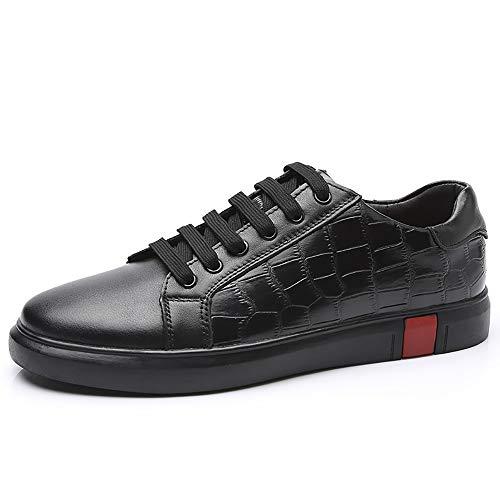 Heren 2019 schoenen Mode Sneaker Voor Heren Sportschoenen Lace Up Stijl OX Leer Eenvoudige Pure Kleur Duurzame Comfortabele Klassieke Kleine Witte Schoenen (Kleur : Zwart, Maat : 8 UK)