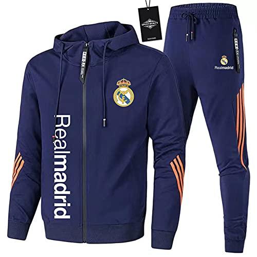 JesUsAvila de Los Hombres Chandal Conjunto Trotar Traje Real-Madrid Hooded Zipper Chaqueta + Pantalones Deporte Sudadera Suéter de Los Hombres/blue/L