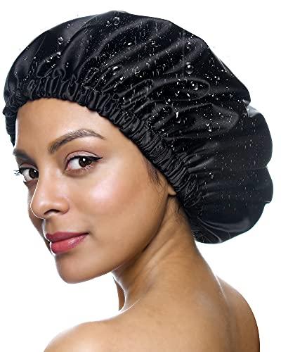 YANIBEST Shower Cap for Women - Hair Satin Bonnet Shower Cap for Men Waterproof Extra Large Double Layer Reusable Adjustable for Braids Long Hair (Large,Black)
