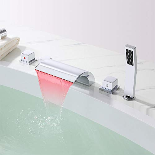 Lovedima Victoria Bathroom Waterfall Bathtub Faucet Set LED Roman Tub Filler with Handheld Shower