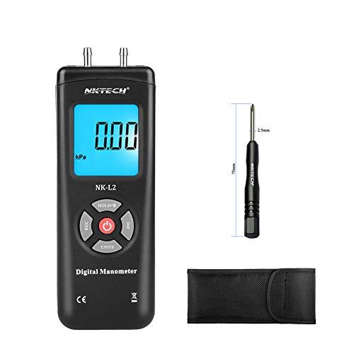 nktech 1890 Digital manómetro diferencial Medidor de presión de aire calibres ± 13.79kpa ± 2psi ± 55.4h2o Gas Tester Gauge Medida Doble Pantalla LCD Retroiluminada de unidades, NK-L2-Black