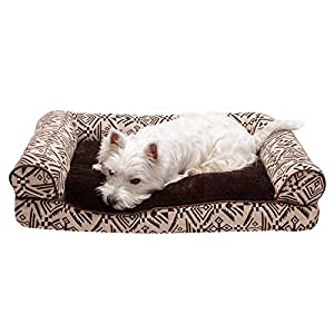 Furhaven Pet Dog Bed – Plush Kilim Southwest Home Decor Pillow Cushion Traditional Sofa-Style Living Room Couch Pet Bed with Removable Cover for Dogs and Cats, Desert Brown, Medium