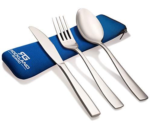 Rockland Guard 3-teiliges Besteck-Set aus Edelstahl (Messer, Gabel, Löffel), leicht, für Reisen, Camping, mit Neopren-Etui, blau