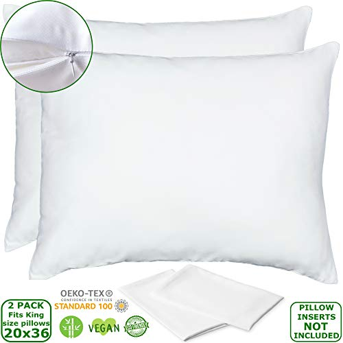 Bamboo Lyocell Pillowcases  King Size Pillow Cases Set of 2 with Zipper White 20x36 Inches Soft Cooling Eco Friendly Sateen Pillowcase Hypoallergenic Pillow Shams Wash in Cold Delicate Cycle Only