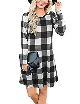 Blooming Jelly Women s Plaid Swing Dress Long Sleeve Round Neck Tunic Mini Dress XL,Plaid