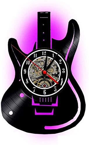 Meet Beauty Ding Einzigartige Musical Guitar Record Vinyl Wanduhren Handgemachte DIY - Kreative LED Lampe mit 7 Farben Hintergrund Licht Fernbedienung Wandleuchte Nacht 30X30CM Runde Schwarz