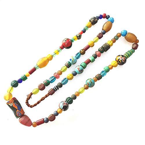 Nepal fatto a mano colorato zafferano lampwork perline filo simulato commercio perline lunghe collane 100 cm