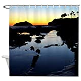 happygoluck1y Laguna Beach Sunset Cortinas de ducha para baño, impermeable, decorativa, cortina de ducha de tela de granja, decoración de Navidad con gancho, 182,88 x 182,88 cm
