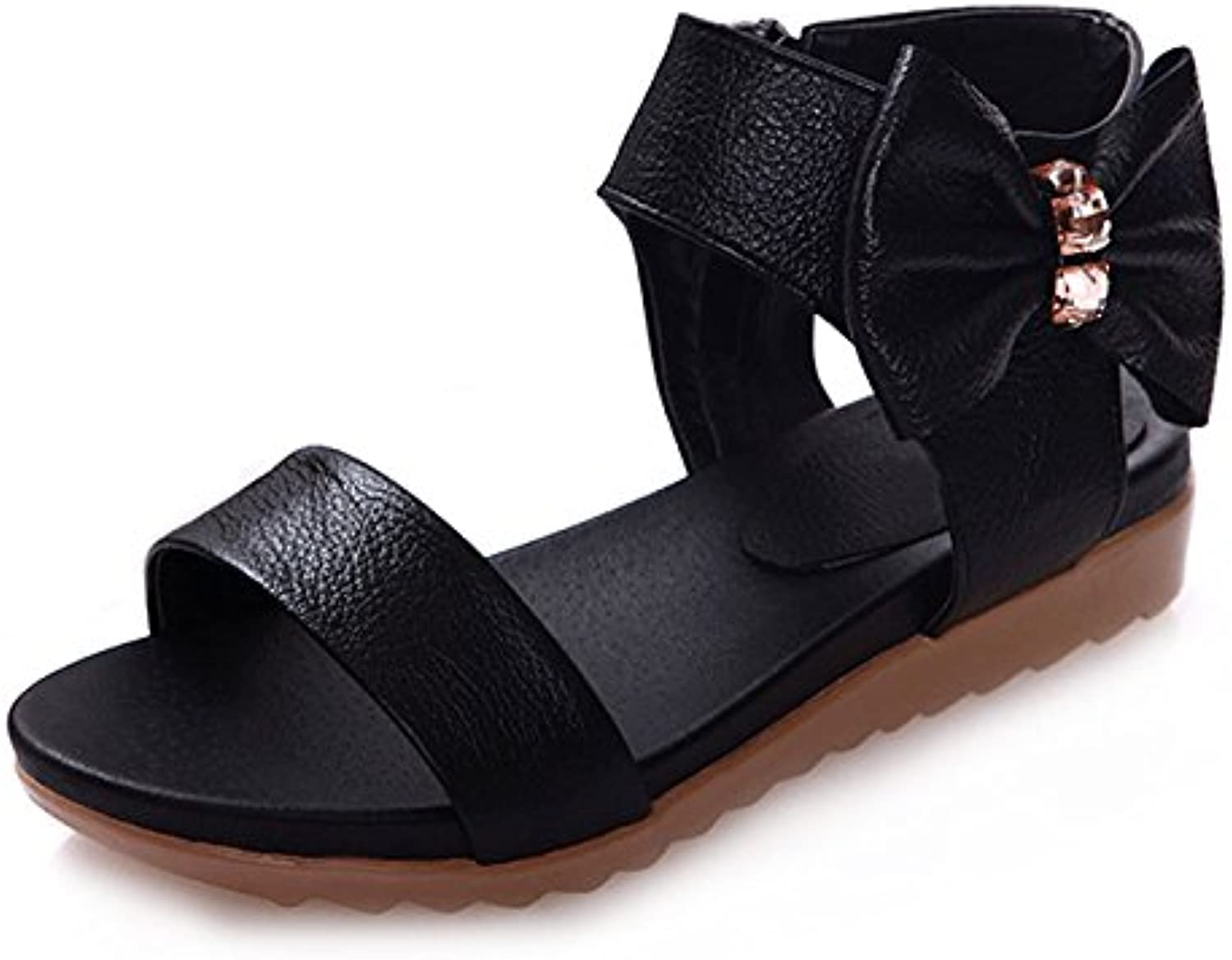 Dahanyi Stylish Summer Women Casual Flat Sandals 2018 Womens Soft Cow Leather Sandals Butterfly-Knot Summer Flat shoes Woman Black White