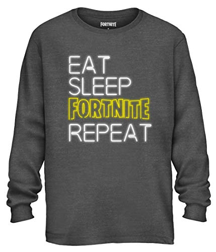 Mad Engine Fortnite Shirt Men's Eat Sleep Repeat Long Sleeve Officially Licensed Adult T-Shirt (Small) Heather Charcoal