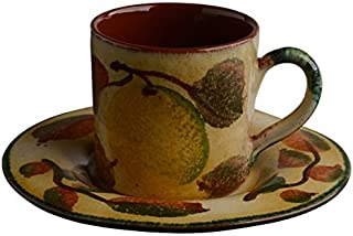 Italian Dinnerware - Espresso Cup and Saucer - Handmade in Italy from our Frutta Laccata Collection