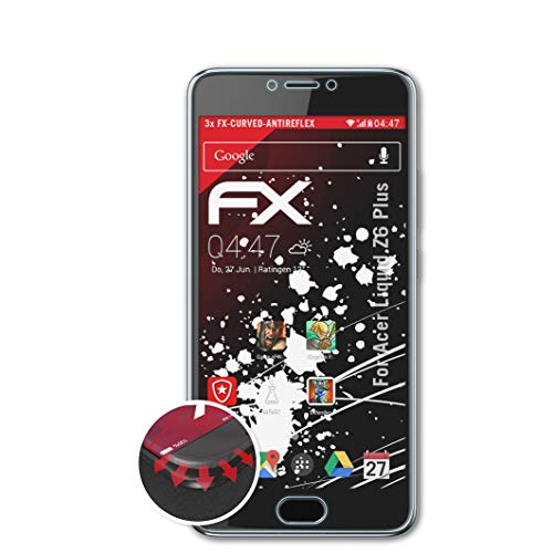 atFolix Schutzfolie kompatibel mit Acer Liquid Z6 Plus Folie, entspiegelnde & Flexible FX Bildschirmschutzfolie (3X)