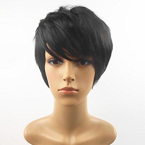 Rose net fibre chimique haute température noir soie perruque cheveux courts